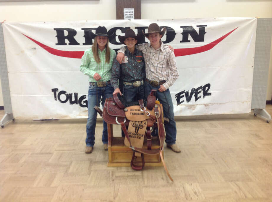 "From left, Brenna Hartley, Kade Cotton and Kwentan ""Puncher"" Williamson, shown here after a regional competition last month, will compete in the Texas State High School Rodeo Finals this week in Abilene. Courtesy photo"