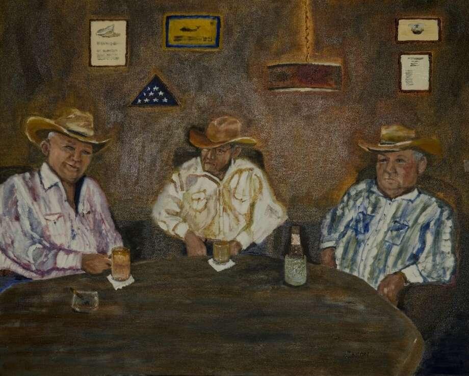 Good Oil Days painting by Houston-area artist Caron Staney of Midlanders Tommy Tims, Bob Bennett and Louis Elliott. (Photo by Tim Fischer/Midland Reporter-Telegram) Photo: Tim Fischer