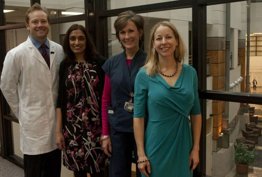 Midland Memorial Hospital staff of plastic surgeons, Dr. Noah Wempe, Dr. Sandeepa Musunuru, Charliss Rodgers, RN, and Dr. Stephanie Beidler Tim Fischer\Reporter-Telegram Photo: Tim Fischer