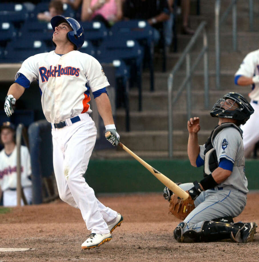 Rockhounds' Dusty Coleman puts the ball in play against the Tulsa Drillers Wednesday at Citibank Ballpark. James Durbin/Reporter-Telegram Photo: JAMES DURBIN