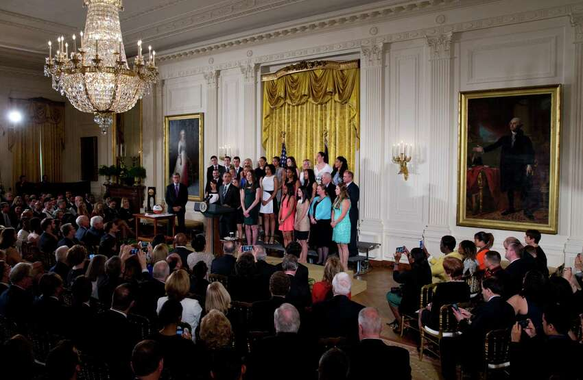 President Barack Obama speaks during a ceremony in the East Room of the White House in Washington, May 10, 2016, to welcome the 2016 NCAA Champion UConn Huskies womens basketball team.