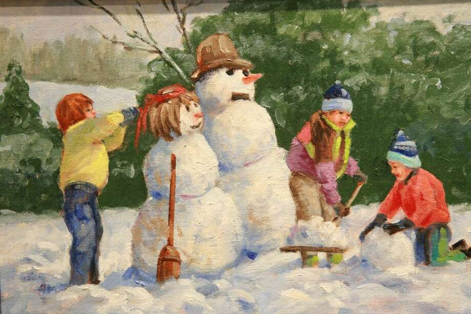 "Doris Spires ""Frosty the Snowman"" painting is part of the Southwest Impressionist exhibit at the Haley Library. Cindeka Nealy/Reporter-Telegram Photo: Cindeka Nealy"