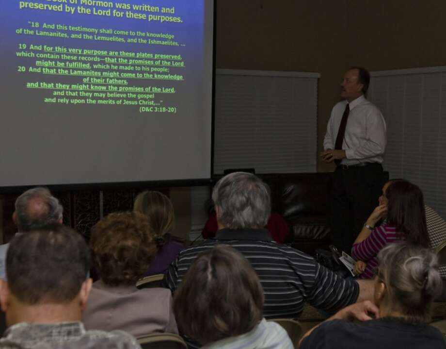 Rod Meldrum, author and DNA reseacher, gives a talk Tuesday evening about research he completed on the archaeological and geological evidences found in the Book of Mormon. Photo by Tim Fischer/Midland Reporter-Telegram Photo: Tim Fischer