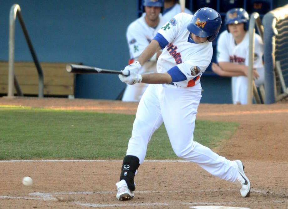 RockHounds' Anthony Aliotti hits against Corpus Christi Tuesday at Citibank Ballpark. James Durbin/Reporter-Telegram Photo: JAMES DURBIN