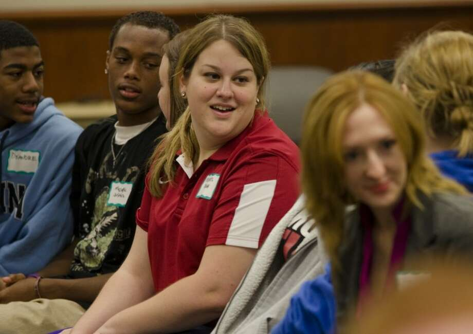 Meredith Moriak, MRT writer, and adult facilitator for the day at Challenge Day, speaks with area teens during a day long program at First Presbyterian Church. Tim Fischer/Reporter-Telegram Photo: Tim Fischer