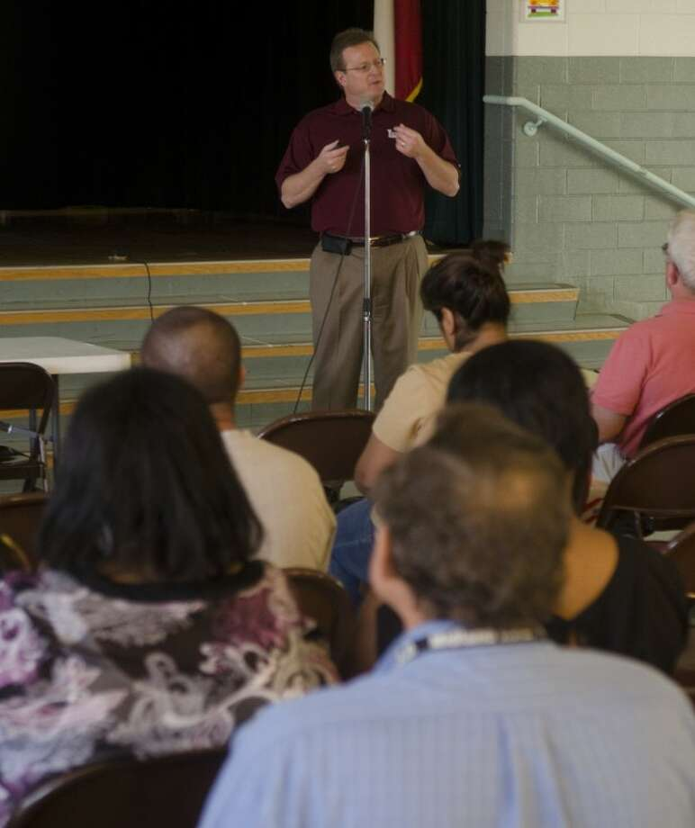 MISD Superintendent Ryder Warren speaks to residents of District 3 Thursday evening at one of the scheduled town hall meetings to discuss and take questions about the future of Midland schools. Photo: Tim Fischer/Reporter-Telegram