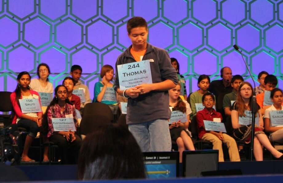 Midland's Thomas Rubio reacts after learning he misspelled podilegous in round one of the Scipps National Spelling Bee's semifinal competition Thursday in National Harbor, Md. Photo: Meredith Moriak/Reporter-Telegram
