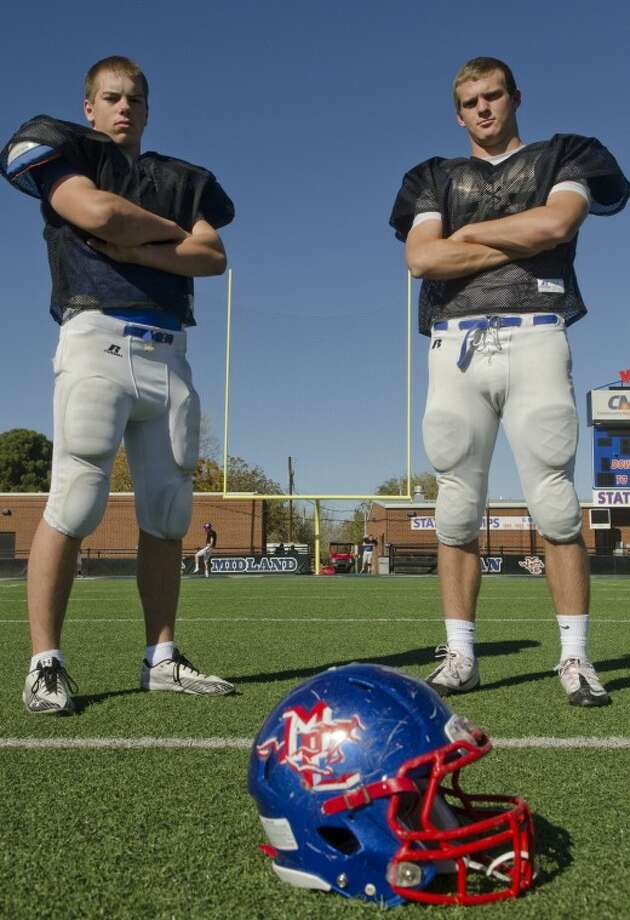 Landon Breeding and Matt Counts, Midland Christian linebackers. Photo by Tim Fischer/Midland Reporter-Telegram Photo: Tim Fischer