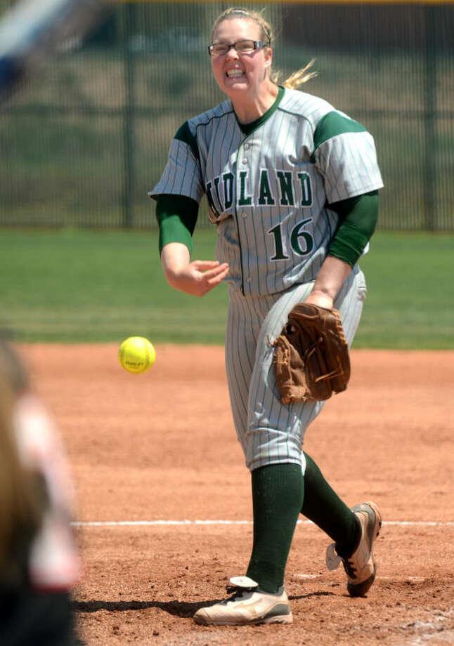 Midland College's Holly Herrington pitches against Howard College Friday at the Midland College softball field. James Durbin/Reporter-Telegram Photo: JAMES DURBIN