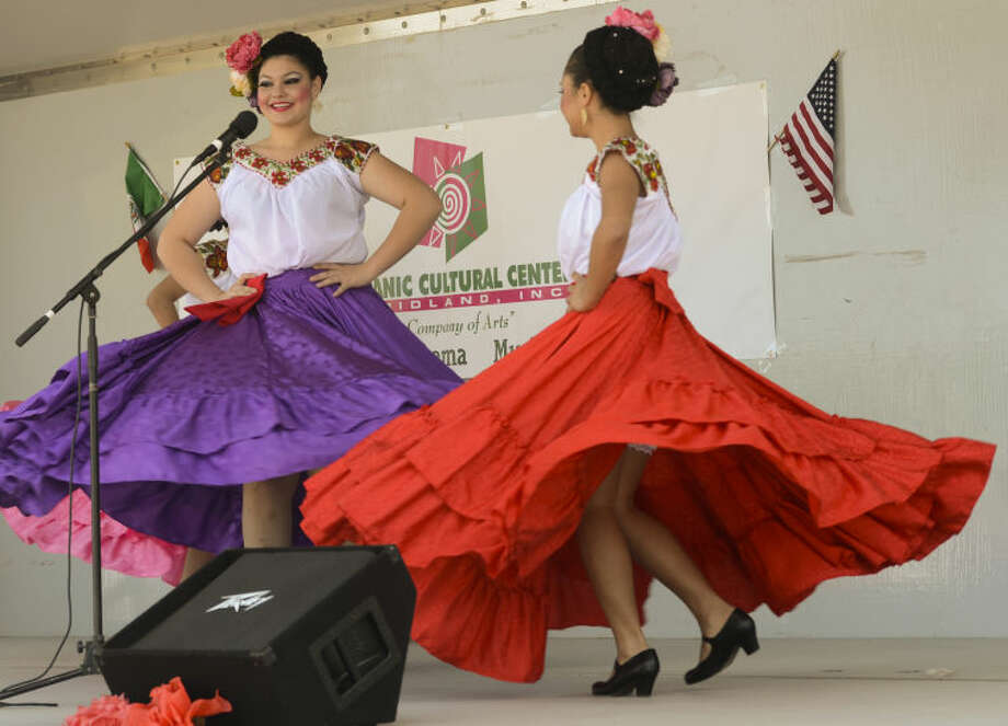 Members of Ballet Folklorico, advance group, perform Friday at a Cinco de Mayo program for area students outside the Hispanic Cultural Center of Midland. Tim Fischer\Reporter-Telegram Photo: Tim Fischer