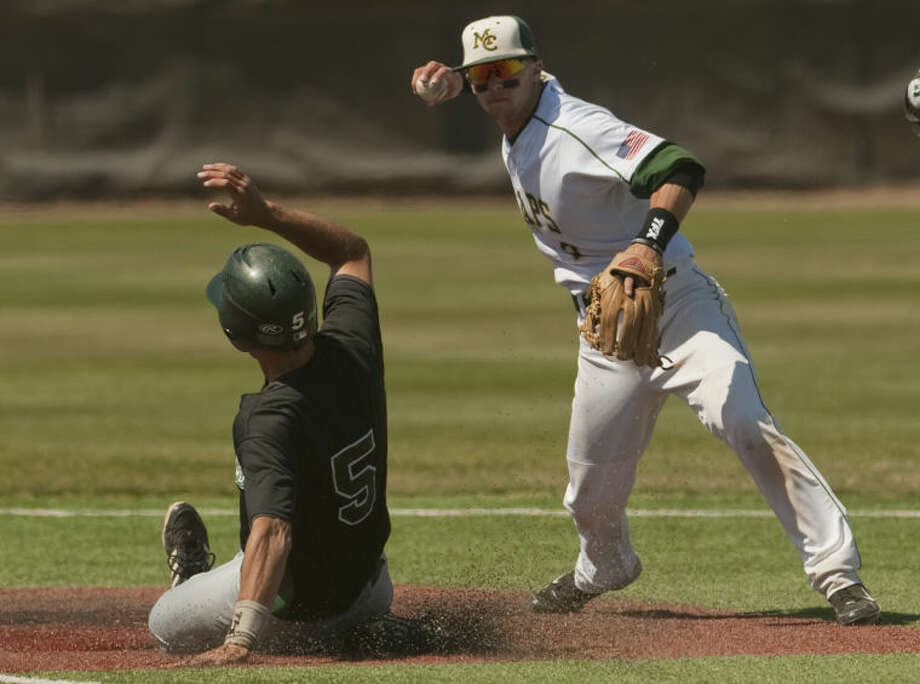 Midland College's Joel Atkinson makes the force out at second before throwing to fist for the double play as Western Texas' Steve Minaudo slides into second too late Friday afternoon at Christensen Stadium. Tim Fischer\Reporter-Telegram Photo: Tim Fischer