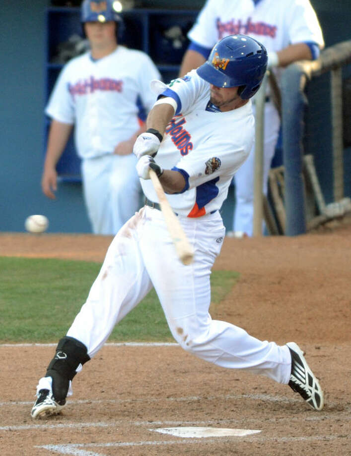 RockHounds' Jake Goebbert hits against Corpus Christi Tuesday at Citibank Ballpark. James Durbin/Reporter-Telegram Photo: JAMES DURBIN