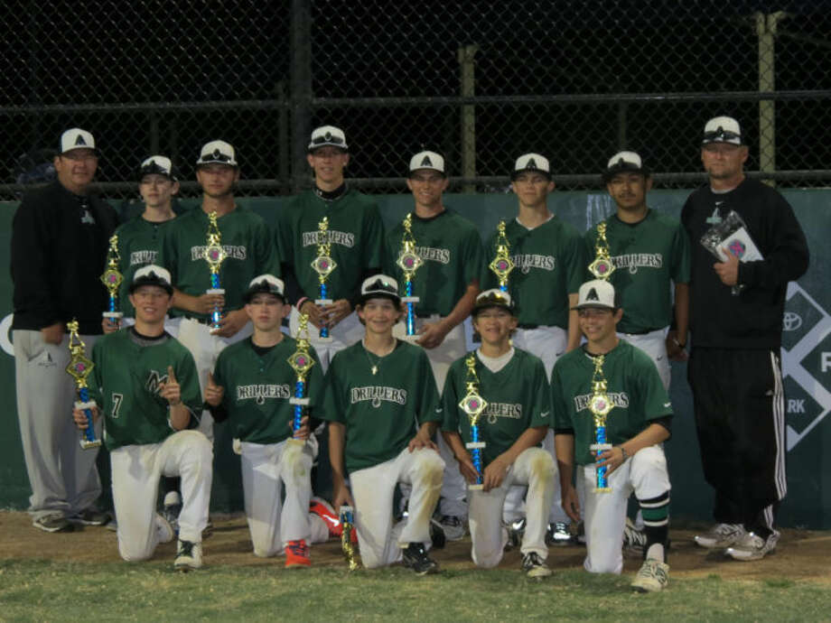 The Drillers 14U baseball team won the Strikes against Cancer Tournament in Lewisville this past weekend. Top row from left, Bo Blessie, Eric Hillman, Payton Tranum, Holt Wood, Jackson Anuszkiewicz and Avian Martinez; bottom row from left to right, John Wuthrich, Colby Standard, Gunnar Blevins, Jaxon Hallmark and Ty Coleman. Coaches, Jeff Tranum, left, and Don Hillman.