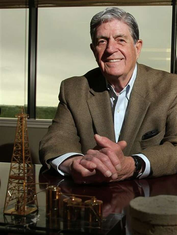 Elliott Roosevelt Jr. is pictured at the Roosevelt Firm in Dallas on Tuesday, April 22, 2013. Roosevelt is the owner of a small Dallas oil company and grandson of former President Franklin D. Roosevelt. He believes he's found an undisclosed field with reserves of 573 million barrels of oil. Photo: Louis DeLuca / The Dallas Morning News