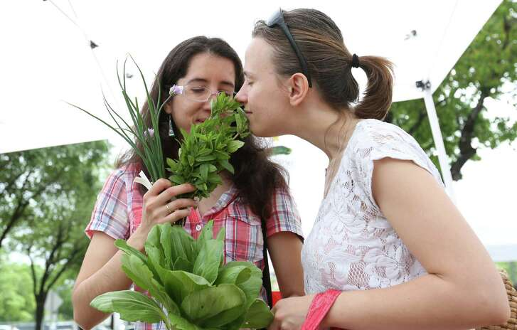 Ana Maria Otamendi and Elena Lacheva smell fresh vegetables at the inaugural East End Farmer's Market on the Navigation Blvd Esplanade Sunday, April 12, 2015, in Houston. ( Jon Shapley / Houston Chronicle )