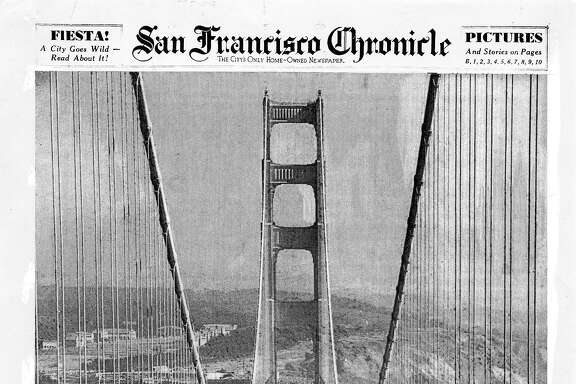 Historic Chronicle Front Page May 28, 1937  Front page for Golden Gate Bridge opening  Chron365, Chroncover