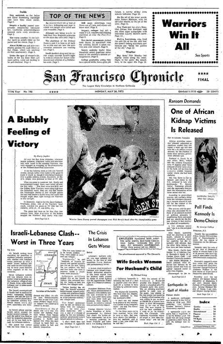 The Chronicle's front page from May 26, 1975, covers the Golden State Warriors' first NBA championship.