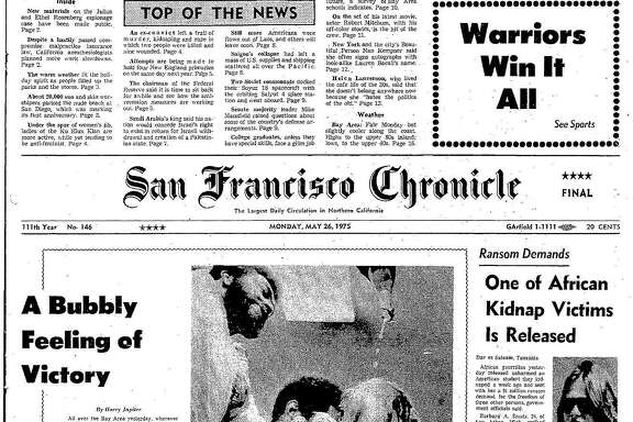 Historic Chronicle Front Page May 26, 1975  Golden State Warriors win the NBA championship  Chron365, Chroncover