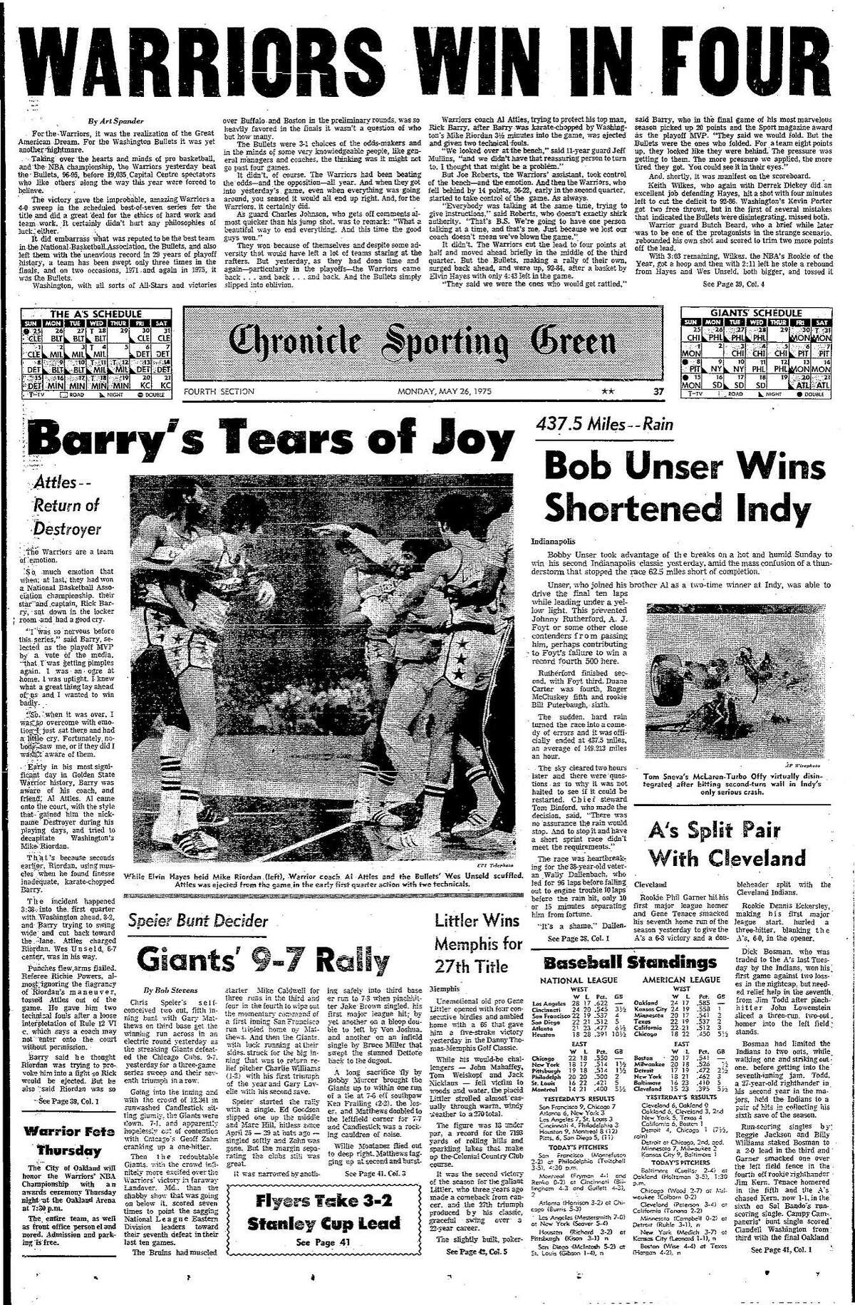 Historic Chronicle Front Page May 26, 1975 Sports section front page Golden State Warriors win the NBA championship Chron365, Chroncover