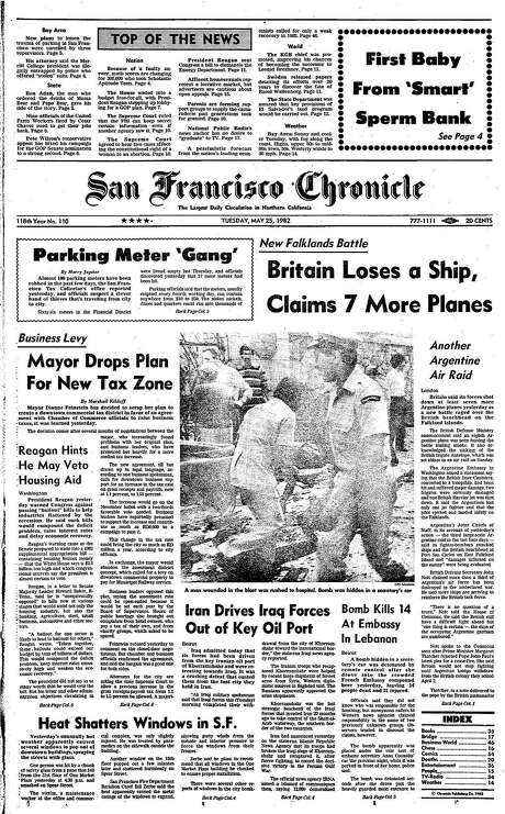 The Chronicle's front page from May 25, 1982, covers a number of stories, including a series of parking meter thefts.