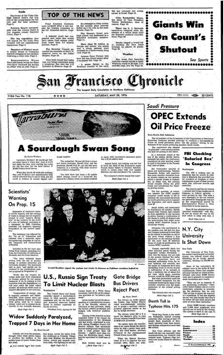 The Chronicle's front page from May 29, 1976, covers the end of the San Francisco sourdough bread industry as the city knew it.