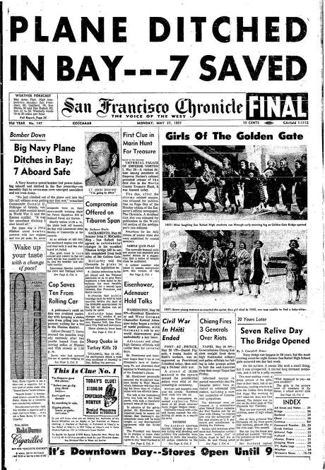 "The Chronicle's front page from May 27, 1957, covers a reunion of the ""Girls of the Golden Gate"" from a famous photo taken during the bridge's opening."