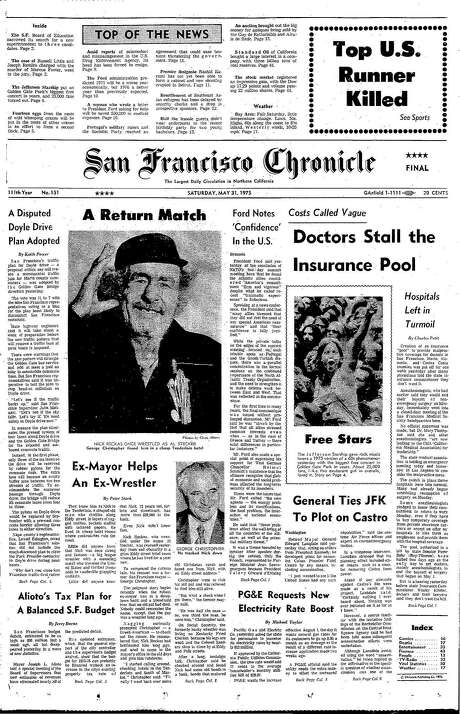 The Chronicle's front page from May 31, 1975, covers the story of Nick Reckas, a former professional wrestler who lived in San Francisco.