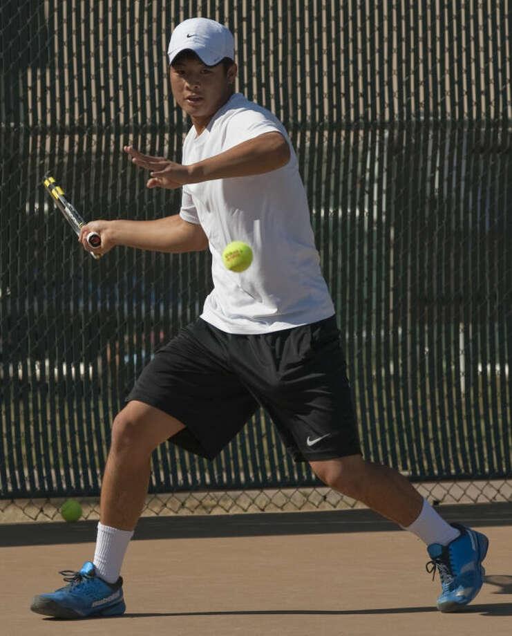 David Hsu competes in the finals against William Little Monday morning in the USTA 18 at Midland College. Tim Fischer\Reporter-Telegram Photo: Tim Fischer