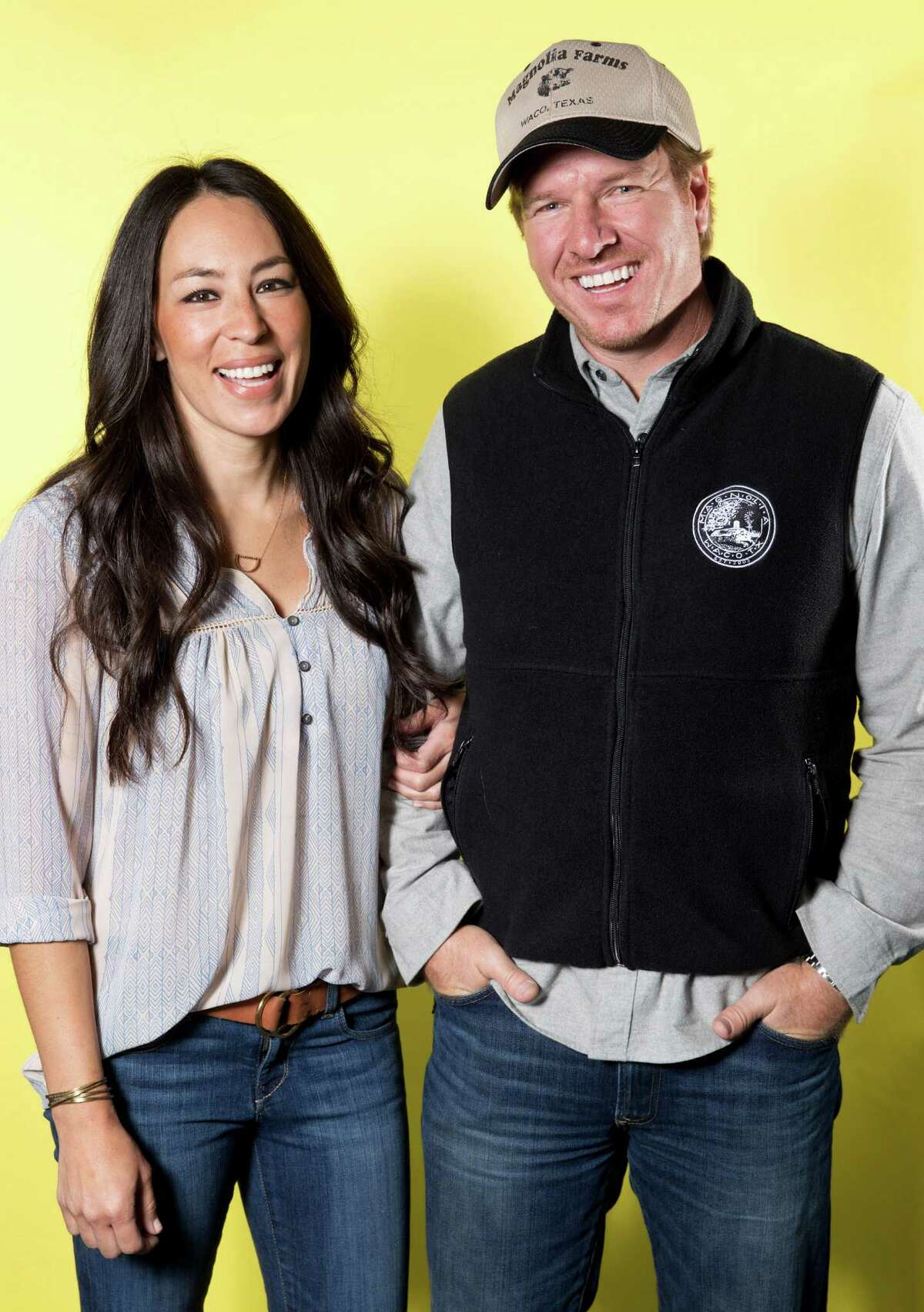 """PHOTOS: Take a virtual tour of Chip & Joanna Gaines' Magnolia Market at the Silos ... Joanna Gaines, left, and Chip Gaines pose for a portrait in New York on March 29, 2016, to promote their home improvement show, """"Fixer Upper,"""" on HGTV."""