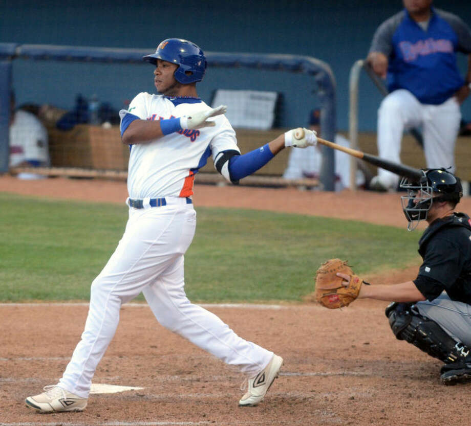 RockHounds' Jeremy Barfield follows through on a hit against San Antonio Missions Friday at Citibank Ballpark. James Durbin/Reporter-Telegram Photo: JAMES DURBIN