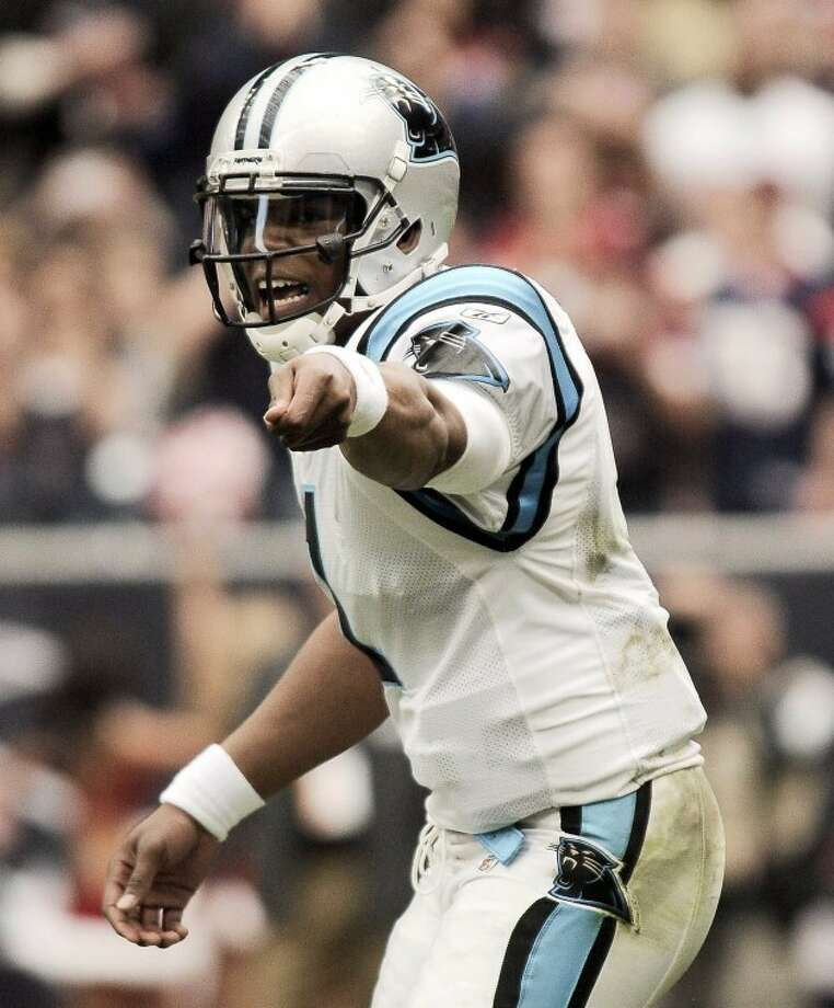 Carolina Panthers quarterback Cam Newton reacts during an NFL football game against the Houston Texans, Sunday, Dec. 18, 2011, in Houston. (AP Photo/The Daily Texan, Lawrence Peart) Photo: Lawrence Peart