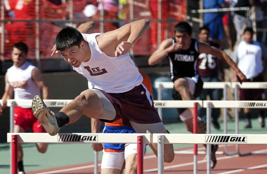 Lee's Talor Nunez competes in the 110 hurdles during the Tall City Relays on Saturday at Memorial Stadium. James Durbin/Reporter-Telegram Photo: JAMES DURBIN