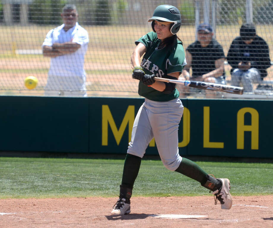 Midland College's Taylor Daniels puts the ball in play with the bases loaded during the game against Luna Friday at the MC softball field. James Durbin/Reporter-Telegram Photo: JAMES DURBIN