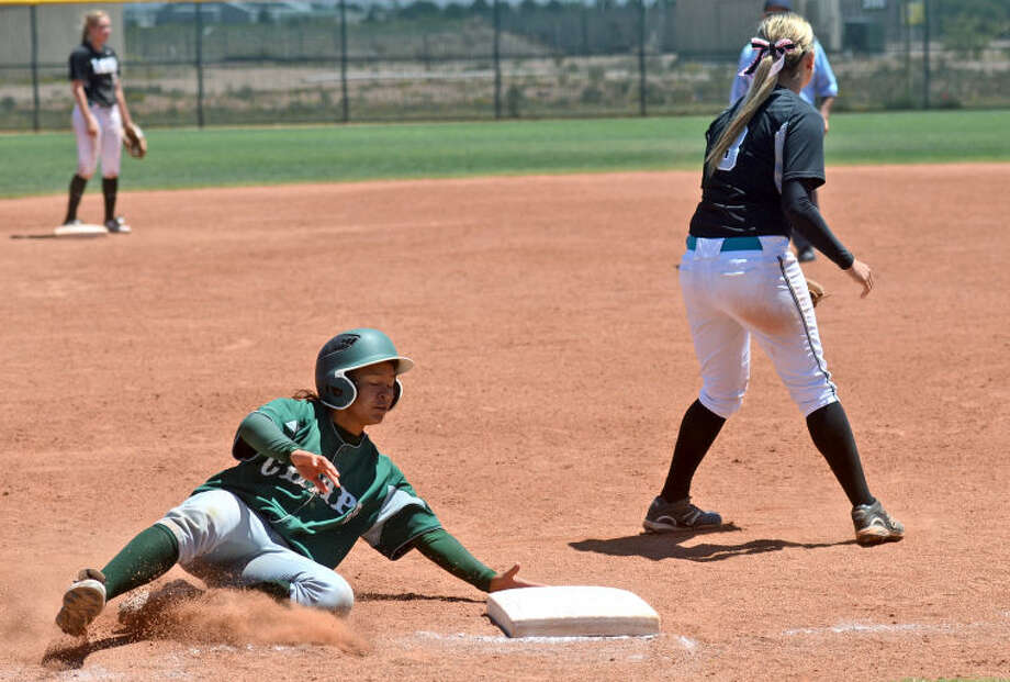 Midland College's Maya Varela slides into third base during the game against Luna Friday at the MC softball field. James Durbin/Reporter-Telegram Photo: JAMES DURBIN