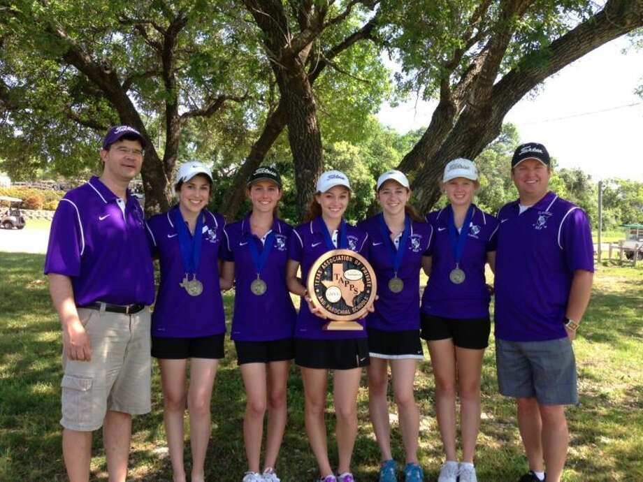 The Midland Classical girls golf team won the TAPPS 3A Girls State Golf Tournament on Tuesday in Fort Hood. From left to right, coach John Snell, Madison Sheets, Angela Johns, Avary Hyden, Brianna Rico, Alexys Carter, Jeff Carter.