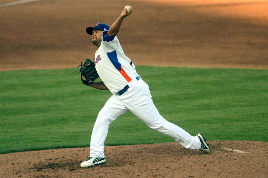 RockHounds pitcher Carlos Hernandez throws against Corpus Christi Wednesday at Citibank Ballpark. James Durbin/Reporter-Telegram Photo: JAMES DURBIN