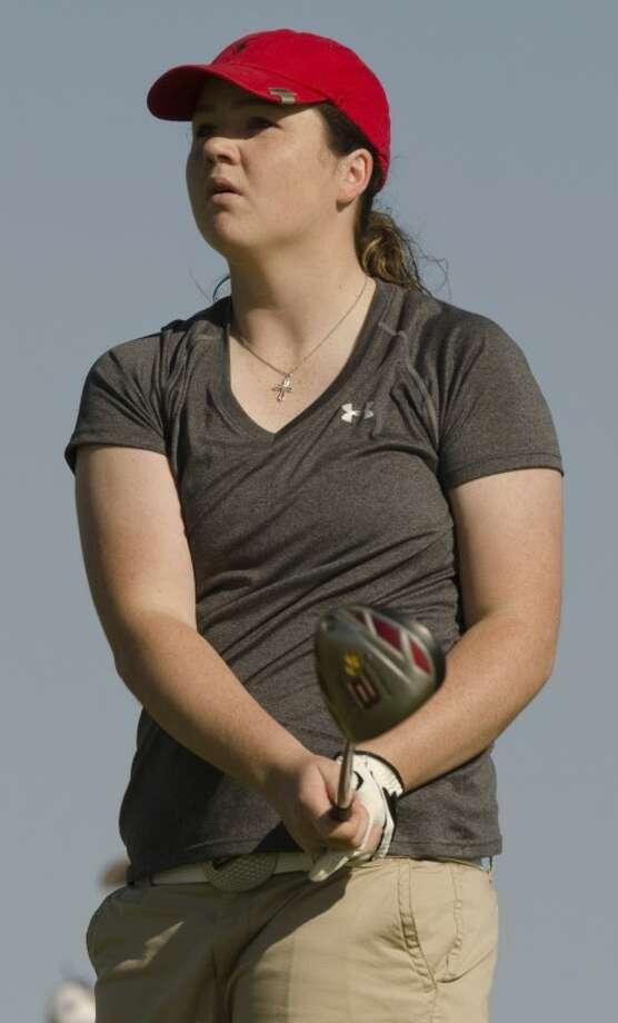 Stanton's Kendra Graham watches her shot Tuesday at the Region I-2A golf tournament at Nueva Vista Golf Club. Photo by Tim Fischer/Midland Reporter-Telegram Photo: Tim Fischer