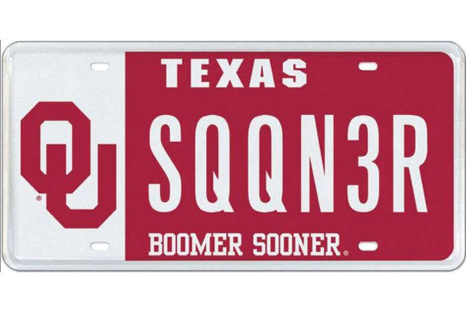 The OU plate became available last year. Nearly 30 out-of-state university plates are now available as Texas license plates. That's because of legislative action several years ago resulting in an exclusive franchise agreement with My Plates to more aggressively market specialized license plates. Photo: COURTESY PHOTO / SA