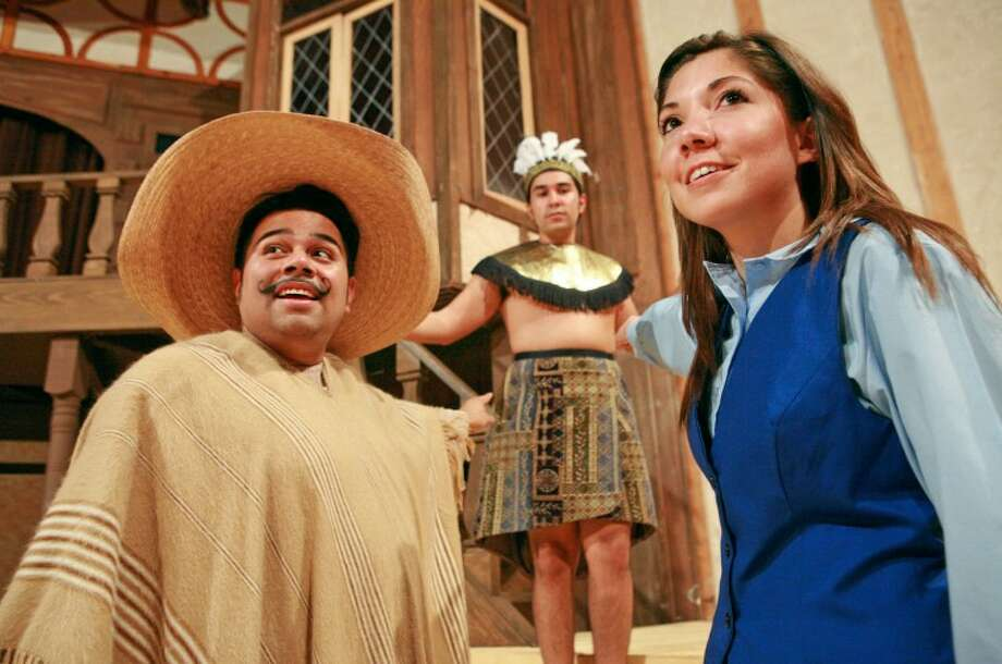 Raymond (Chris Gutierrez), left and Alicia (Cecilia Corral) discover the Aztec Priest (Rene Fierro) during their search for the pottery maker. Cindeka Nealy/Reporter-Telegram Photo: Cindeka Nealy