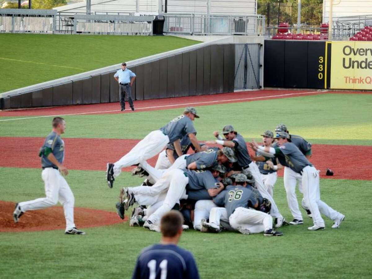 Midland College baseball team celebrates a win against Grayson on Tuesday. Forrest Allen / For The MRT
