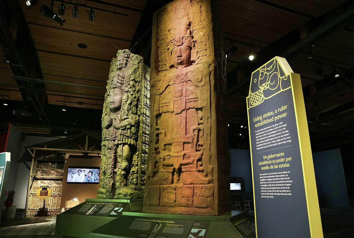 """The Witte Museum will open """"Maya: Hidden Worlds Revealed"""" in the new Mays Family Center on Saturday. The exhibit features more than 200 artifacts, including these two stelae."""