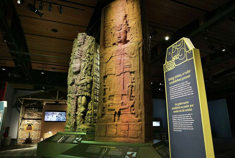 "The Witte Museum will open ""Maya: Hidden Worlds Revealed"" in the new Mays Family Center on Saturday. The exhibit features more than 200 artifacts, including these two stelae. Photo: Photos By Bob Owen /San Antonio Express-News / San Antonio Express-News"