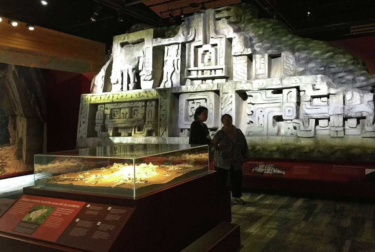 """The Witte Museum is about ready to open the exhibit """"Maya:Hidden Worlds Revealed"""" in the Mays Family Center. Museum workers were putting final touches on the exhibit on Monday, May 9, 2016. Like billboards, stucco friezes wrapped around the four sides of the pyramid known today as El Castillo which served as the spiritual heart of Xunantunich, an Ancient Maya archaeological site in western Belize."""