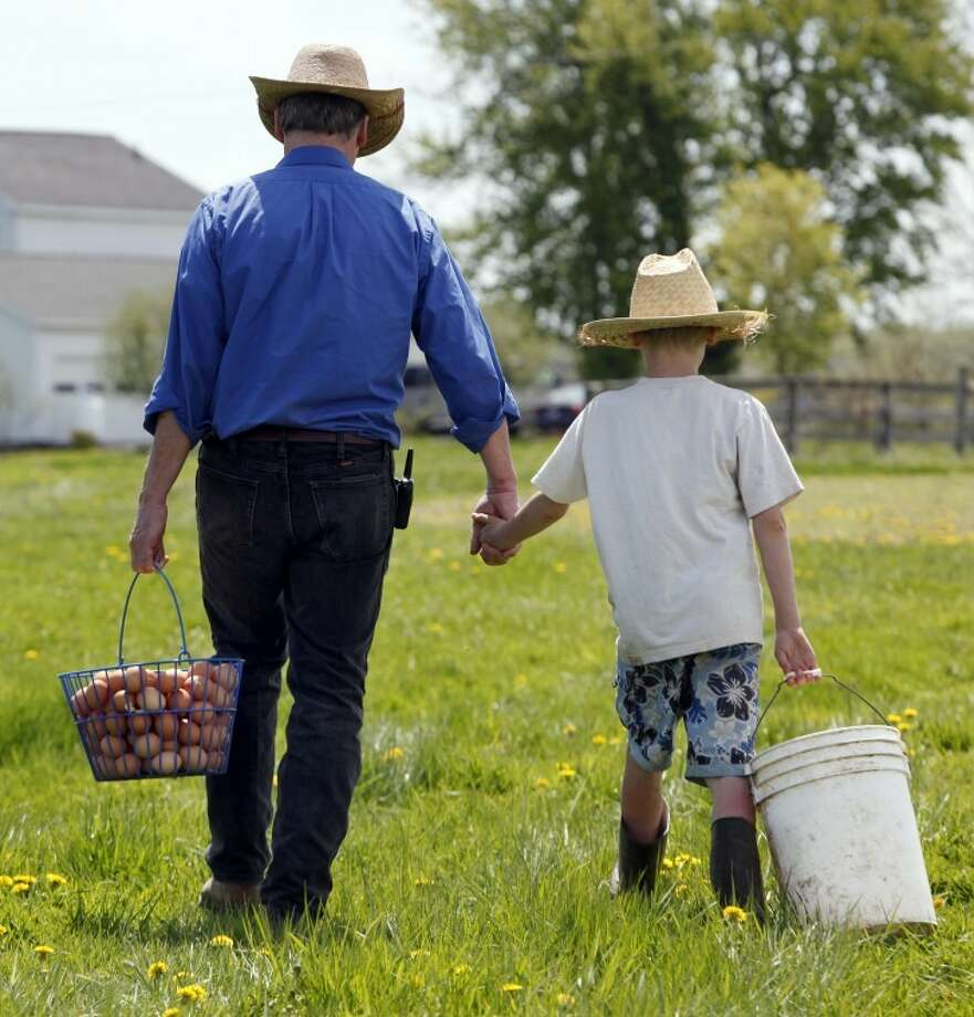 "In this May 12, 2011 photo, Peter McDonald walks with his 9-year-old son Philip, right, after collecting eggs on his farm in Romulus, N.Y. After buying a hobby farm on the cheap 20 years ago, McDonald quit his career as a video producer a decade later and, with escalating success, is doing his bit to propel ""fresh, local and above all clean food"" farming into a postindustrial boom age. (AP Photo/David Duprey) Photo: David Duprey"