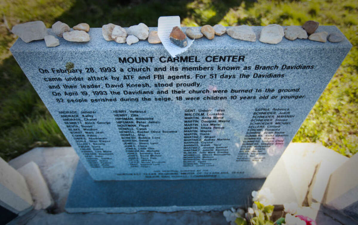 A memorial for 83 Branch Dividians who died during a 1993 raid on David Koresh's Mt. Carmel Center compound. The grounds are now the home of the New Mt. Carmel Center and The Stone Church, Tuesday, March 5, 2013, outside Waco. ( Nick de la Torre / Chronicle )