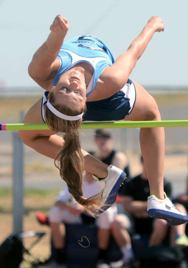 Greenwood's Morgan McKee competes in the Girls Varsity High Jump during the Ranger Relays Thursday at Greenwood. James Durbin/Reporter-Telegram Photo: JAMES DURBIN