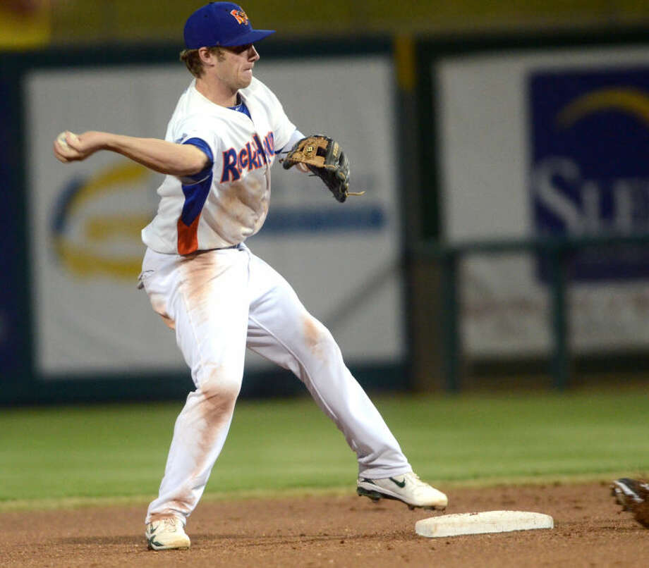 RockHounds second baseman Dusty Coleman attempts a double play throw to first base during the game against Corpus Christi Thursday at Citibank Ballpark. James Durbin/Reporter-Telegram Photo: JAMES DURBIN