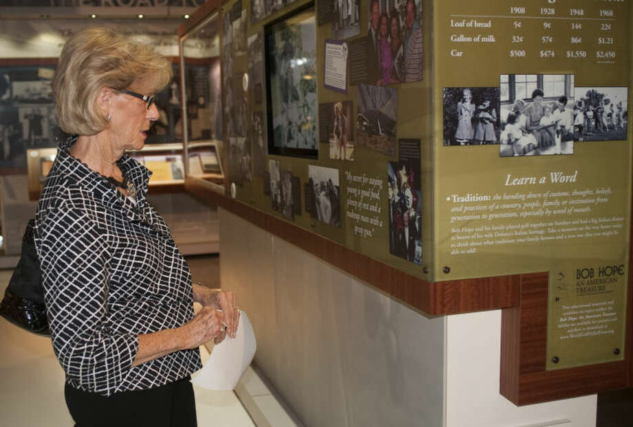 Former LPGA golfer Judy Rankin, friend of Bob and Dolores Hope, looks at some of the items on display at the opening of the Bob Hope Exhibit at the Midland County Public Library Centennial branch Monday evening. Tim Fischer\Reporter-Telegram Photo: Tim Fischer