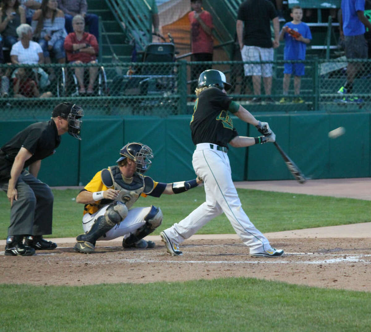 Midland College's Ethan Kohnle hits a double in the third inning against Central Alabama on Monday at Sam Suplizio Field in Grand Junction, Colo. Buddy Brown/Special to the MRT