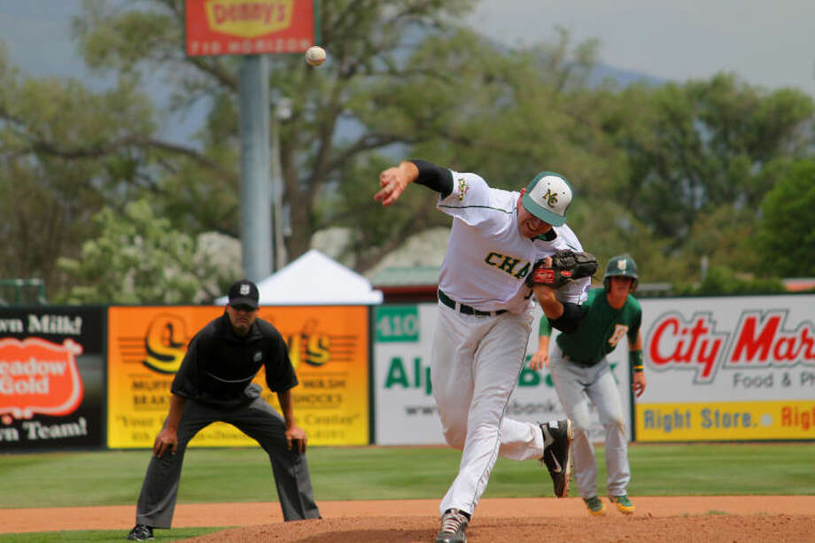 Midland College's Jeremy Filipek throws a pitch during Tuesday's game against Palm Beach State at the JUCO World Series in Grand Junction, Colo. Buddy Brown/Special to the MRT